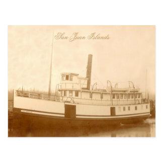 Isleño del barco de vapor del vintage postales