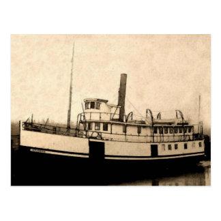 Isleño del barco de vapor del vintage postal