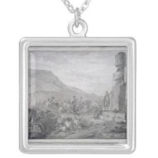 Isleños y monumentos de la isla de pascua, 1786 colgante cuadrado
