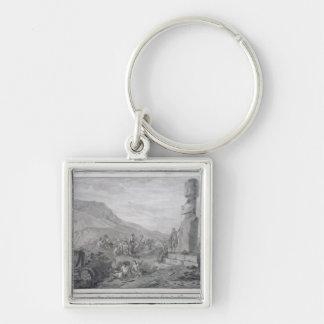 Isleños y monumentos de la isla de pascua, 1786 llavero cuadrado plateado