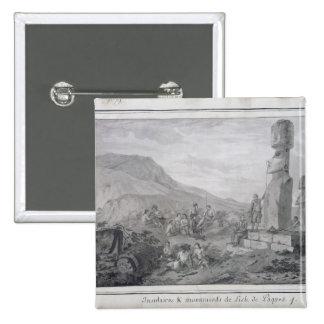 Isleños y monumentos de la isla de pascua, 1786 pin cuadrada 5 cm
