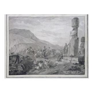 Isleños y monumentos de la isla de pascua, 1786 postal