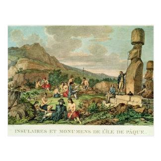 Isleños y monumentos de la isla de pascua tarjeta postal