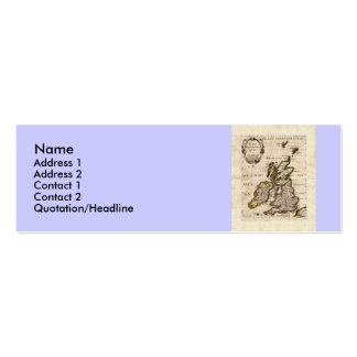 Isles Britanniques - 1700 Nicolas Fils Sanson Map Double-Sided Mini Business Cards (Pack Of 20)