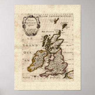 Isles Britanniques - 1700 Nicolas Fils Sanson Map Poster
