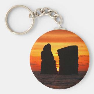 Islotes en la puesta del sol llavero redondo tipo pin