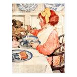 Isn't this porridge delicious, Teddy? Postcard