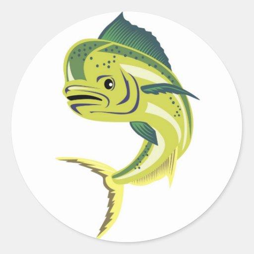 iso_THUMB del frente de los pescados del dolpin Pegatina Redonda