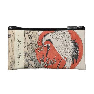 Isoda Koryusai Crane Waves and rising sun Cosmetic Bags