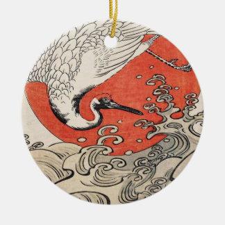 Isoda Koryusai Crane Waves and rising sun Ceramic Ornament