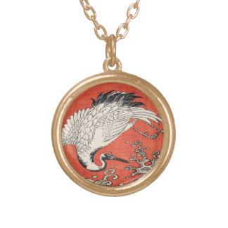 Isoda Koryusai Crane Waves and rising sun Gold Plated Necklace