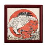 Isoda Koryusai Crane Waves and rising sun Keepsake Box