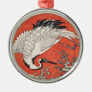 Isoda Koryusai Crane Waves and rising sun Metal Ornament