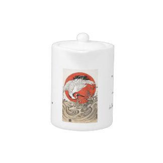 Isoda Koryusai Crane Waves and rising sun Teapot