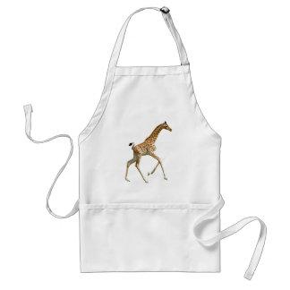 Isolated baby giraffe running adult apron