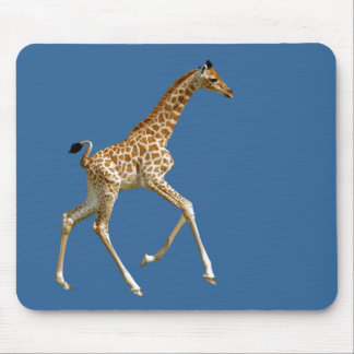 Isolated baby giraffe running mouse pad