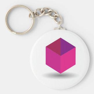 Isolated box basic round button keychain