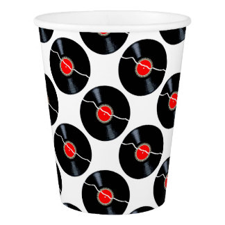 Isolated Broken Record Paper Cup