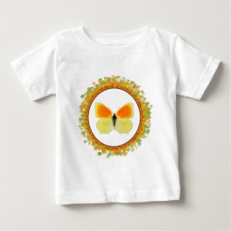 Isolated Cleopatra butterfly in frame of leaves Baby T-Shirt