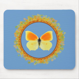 Isolated Cleopatra butterfly in frame of leaves Mouse Pad