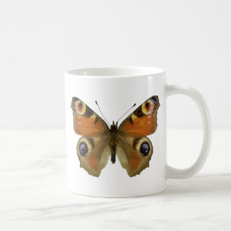 Isolated European Peacock butterfly Coffee Mugs