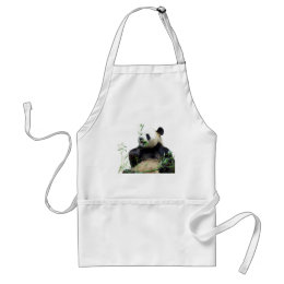 Isolated giant panda eating bamboo adult apron