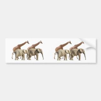 Isolated giraffes and elephants walking bumper sticker