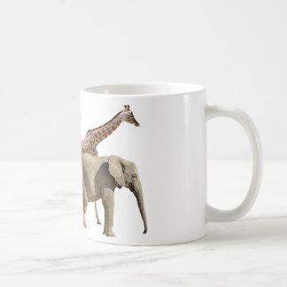Isolated giraffes and elephants walking coffee mug
