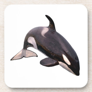 Isolated killer whale jumping drink coaster