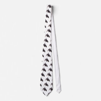 Isolated killer whale jumping tie