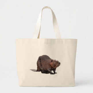 Isolated North American Beaver Large Tote Bag