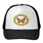 Isolated painted lady butterfly in frame of leaves hat