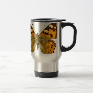 Isolated painted lady butterfly travel mug