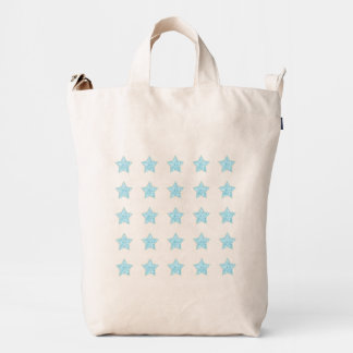 Isolated Rows of Aquq Tile Pattern Stars Duck Bag