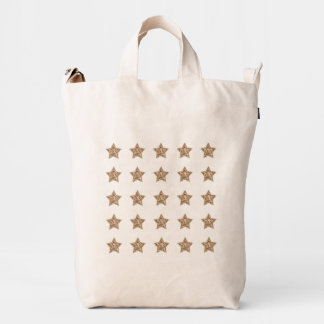 Isolated Rows of Brown Tile Pattern Stars Duck Bag