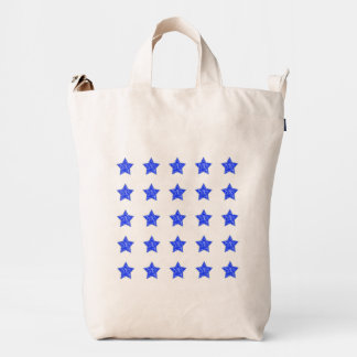Isolated Rows of Cobalt Blue Tile Pattern Stars Duck Bag