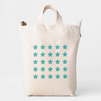 Isolated Rows of Teal Tile Pattern Stars Duck Bag