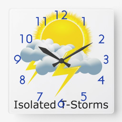 Isolated T-Storms Square Wall Clock