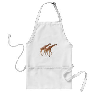 Isolated two giraffes walking adult apron