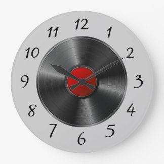 Isolated Vinyl record Large Clock