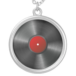Isolated Vinyl record Silver Plated Necklace
