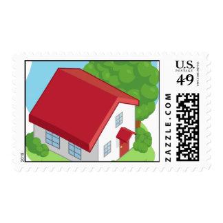 Isometric Cartoon House Postage