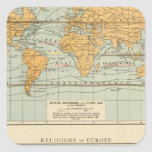 Isotérmico, religiones Europa de los vientos Pegatina Cuadrada