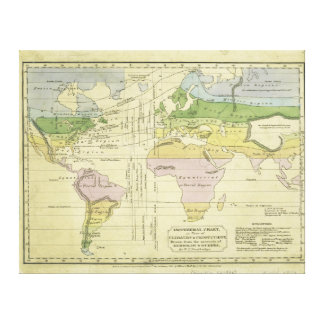 Isothermal chart climates & productions Woodbridge Canvas Print