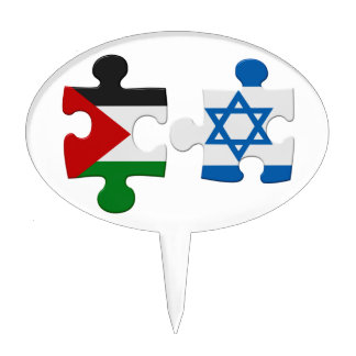 Israel and Palestine Conflict Flag Puzzle Cake Topper