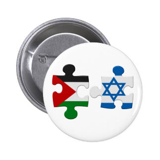 Israel and Palestine Conflict Flag Puzzle Pinback Button