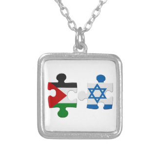 Israel and Palestine Conflict Flag Puzzle Square Pendant Necklace