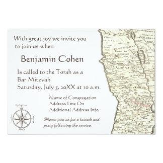 Israel Antique Map Benjamin Bar Mitzvah Invitation