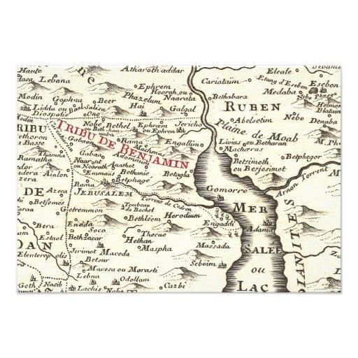 Israel Antique Map Benjamin Bar Mitzvah Thank You Announcement