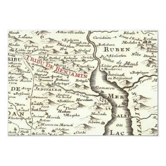 Israel Antique Map Benjamin Bar Mitzvah Thank You 3.5x5 Paper Invitation Card